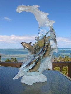 Dolphin Sea Acrylic Sculpture 2006 22 in  high Sculpture by Robert Wyland