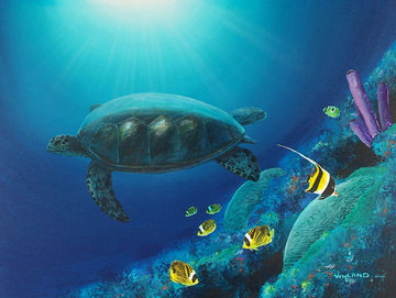 Turtle on Reef 1999 48x38 Original Painting - Robert Wyland