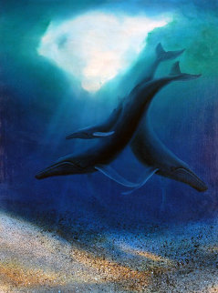 Maui Humpbacks 1987 48x36 Super Huge Original Painting - Robert Wyland