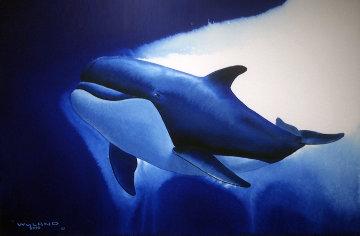 Atlantic Ocean Watercolor 2003 28x32 Watercolor - Robert Wyland