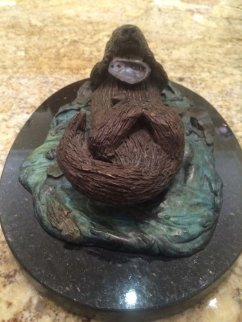 Sea Otter With Abalone Bronze Sculpture 12 in Sculpture - Robert Wyland