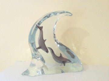 Dolphin Light Acrylic Sculpture 2002 Sculpture - Robert Wyland