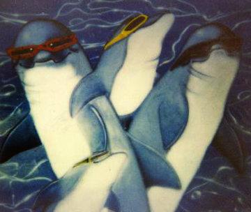 Untitled Penquins 1980 48x60  Huge Original Painting - Robert Wyland