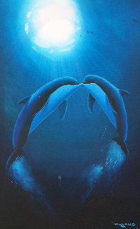 Kiss of the Sea 1997 29x39 Original Painting by Robert Wyland