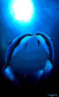Kiss of the Sea 1997 40x30 Super Huge Original Painting - Robert Wyland