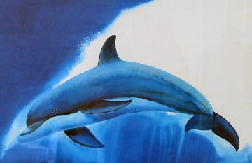 Dolphin Sea Watercolor  2011 38x31  Watercolor - Robert Wyland