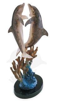 Hugging Dolphins Bronze Sculpture 1997 17 in Sculpture by Robert Wyland