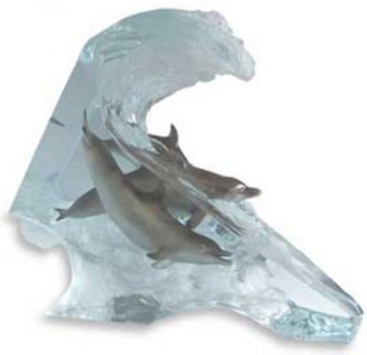 Surf Riders Acrylic Sculpture 2000 Sculpture - Robert Wyland