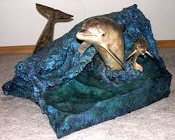Dolphin Experience Bronze End Table 1992 32x32 Sculpture - Robert Wyland