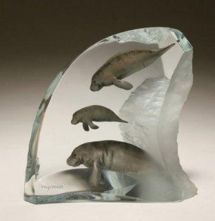 Manatee Tribe Lucite Sculpture AP 2003 Sculpture - Robert Wyland