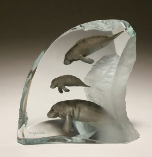 Manatee Tribe Lucite Sculpture AP 2003 Sculpture by Robert Wyland