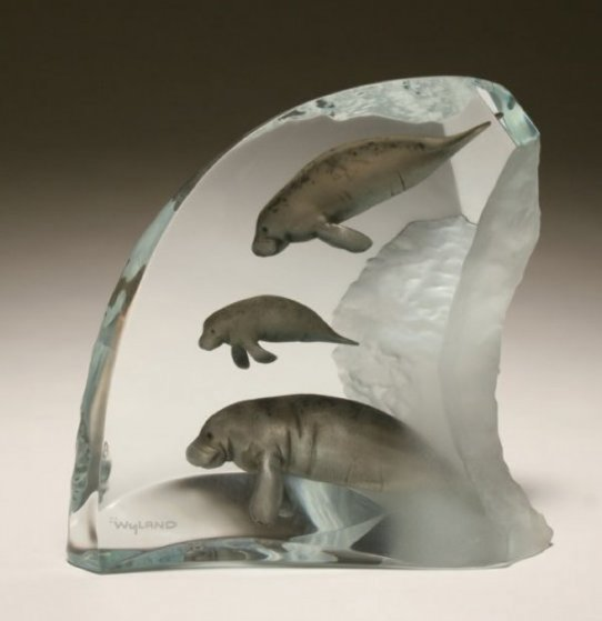 Manatee Tribe Lucite Sculpture AP 2003 13 in  Sculpture by Robert Wyland