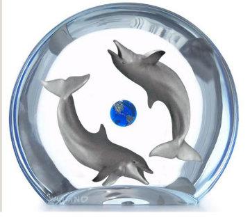 Dolphin Planet Acrylic Sculpture AP Sculpture by Robert Wyland