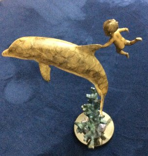 Water Baby Bronze Sculpture 1999 14 in Sculpture - Robert Wyland