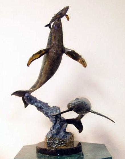 Cow Calf Escort Bronze Sculpture 1997 21 in Sculpture by Robert Wyland
