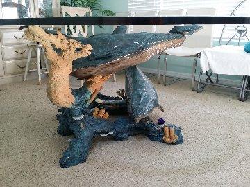 Humpback Realm Bronze Table  Sculpture 2002 30x90 Sculpture - Robert Wyland