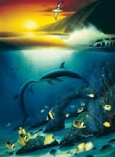 Kissing Dolphins 1990 Limited Edition Print by Robert Wyland