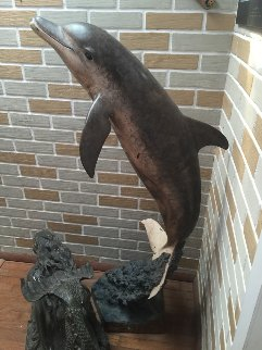 Friendly Dolphin Life Size Bronze 60 in Sculpture - Robert Wyland