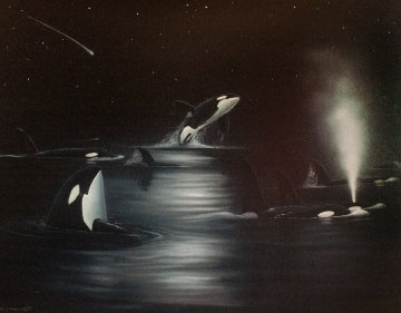 Orca Starry Night 53x42 Limited Edition Print by Robert Wyland