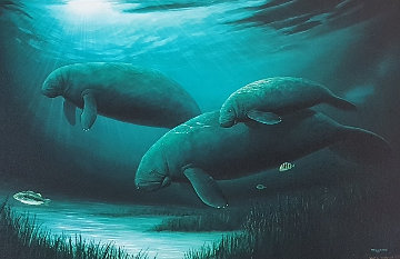 Green Manatees  1991 Limited Edition Print by Robert Wyland