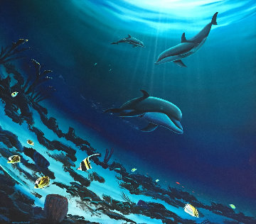 Dolphins 2004 44x44 Super Huge Original Painting - Robert Wyland