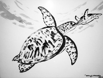 Untitled Sumi Ink Kissing Sea Turtles 2013 44x36 Original Painting - Robert Wyland