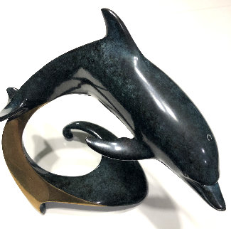 Dolphin Bronze Sculpture 1989 12 in  too high Sculpture - Douglas Wylie