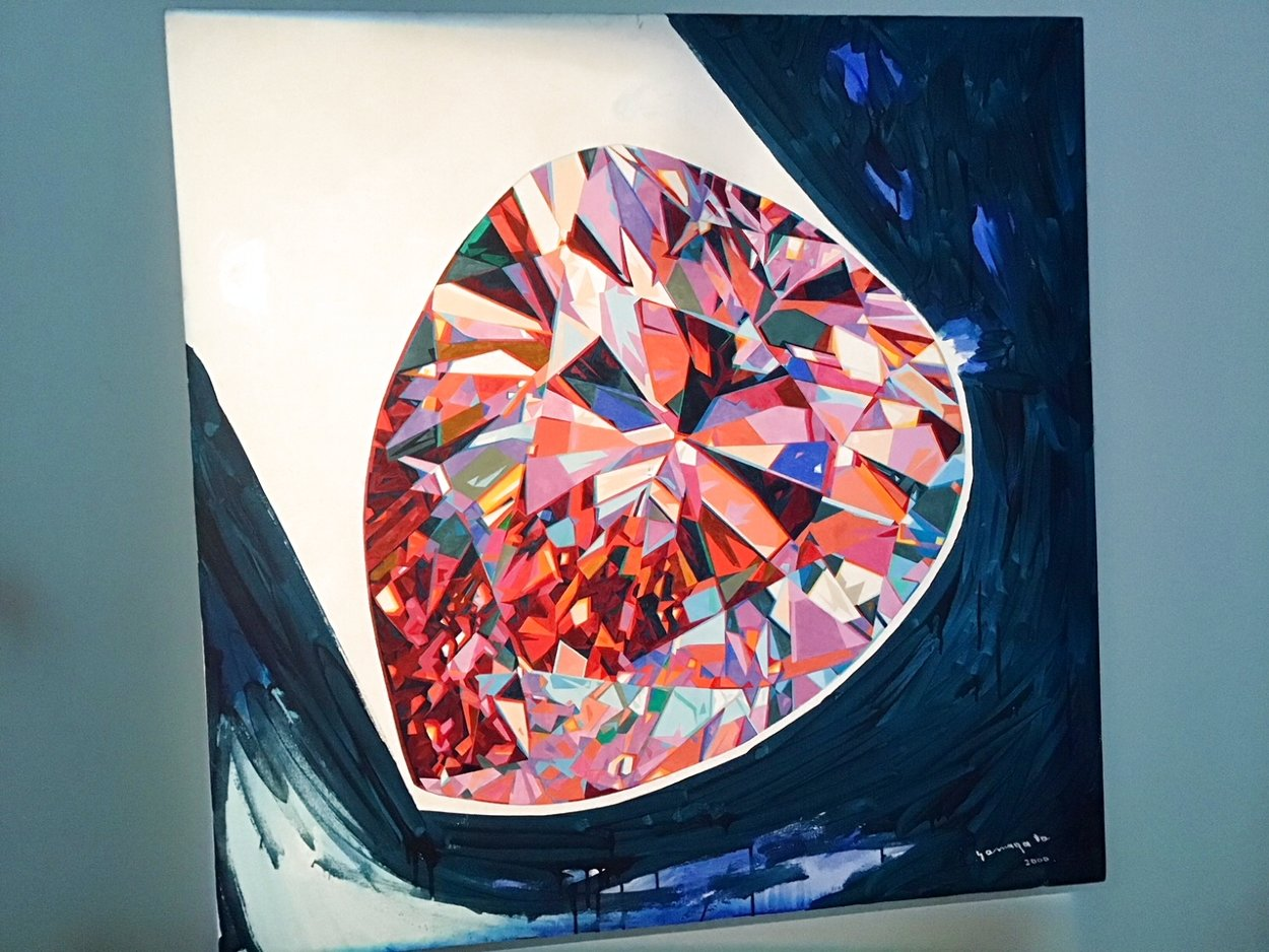 Pink Diamond (Pear) 2000 48x48 Huge Original Painting by Hiro Yamagata