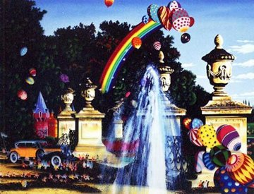Courtyard Fountain 1990 Limited Edition Print by Hiro Yamagata