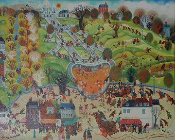 Montmarte, Paris 1973 26x31 Original Painting - Hiro Yamagata