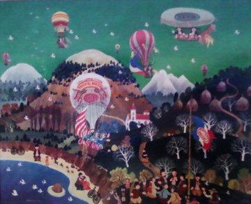 Nouvelles De Ballon 1977 21x24 Original Painting - Hiro Yamagata