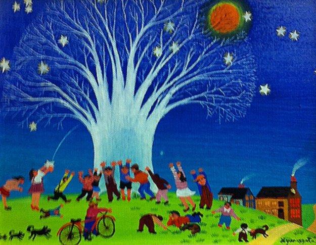 Starry Night 1973 Original Painting by Hiro Yamagata
