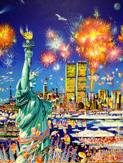 Happy Birthday Liberty U.S.A. Original 30x40 Super Huge Original Painting - Hiro Yamagata