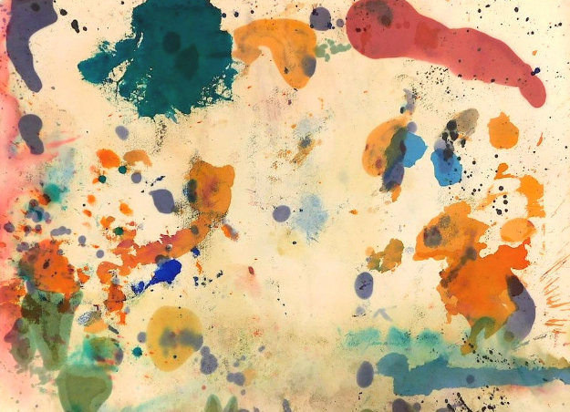 Expressionistic Abstract Composition in Blue, Red, Orange, Pink 1957 25x33 Original Painting by Taro Yamamoto