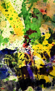Expressionistic Abstract Composition in Purple, Yellow and Green 1957 16x11 Watercolor by Taro Yamamoto