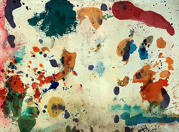 Double Sided Abstract Composition in Blue, Red, Orange, Pink Watercolor 1957 21x29 Watercolor - Taro Yamamoto