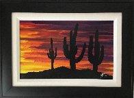 Twilight and Seguaro 2013 16x22 Original Painting by Tim Yanke - 1