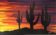 Twilight and Seguaro 2013 16x22 Original Painting by Tim Yanke - 2