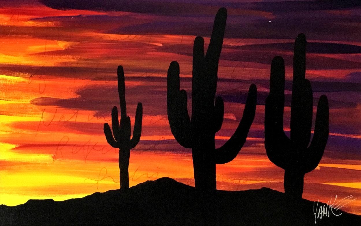Twilight and Seguaro 2013 16x22 Original Painting by Tim Yanke