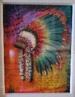Big Thunder (Headdress) Unique 2015 Embellished Works on Paper (not prints) by Tim Yanke - 2