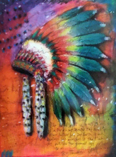Big Thunder (Headdress) Unique 2015 Embellished Works on Paper (not prints) - Tim Yanke