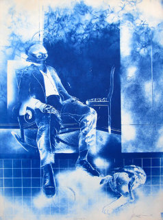 Seated Man And the Dog (Masoud Yasami) 30x22 Limited Edition Print - Masoud  Yasami