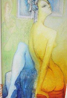 Yellow Nude 53x44 Original Painting - Gevorg Yeghiazarian