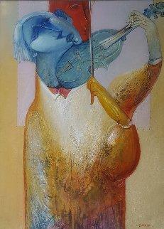 Musician 60x48 Huge  Original Painting - Gevorg Yeghiazarian