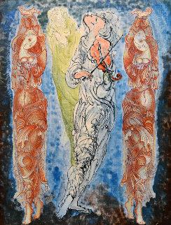 Dancing Women 2014 13x9 Original Painting - Gevorg Yeghiazarian
