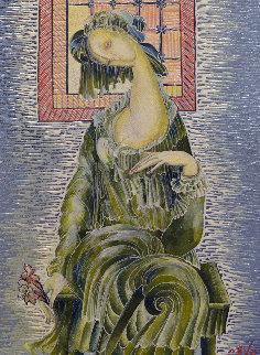 Girl in Green 2013 13x9 Original Painting by Gevorg Yeghiazarian