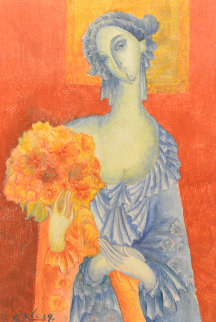 Blue in Orange 2014 10x6 Original Painting - Gevorg Yeghiazarian