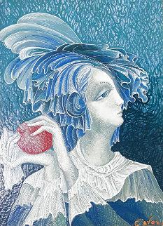 Lady With Apple Original 26x23 Original Painting - Gevorg Yeghiazarian