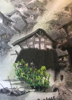 Summer Village II Watercolor 48x33 Super Huge Watercolor - Guo Yongqun