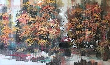 Birch Stream Romance 32x48 Watercolor by Guo Yongqun